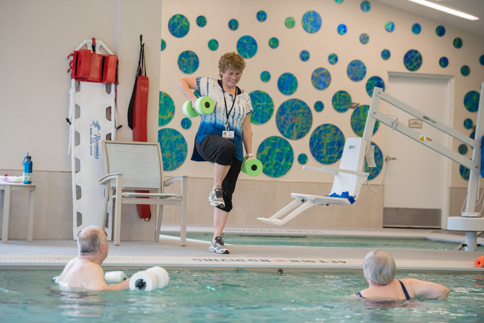 Seniors exercising in the pool
